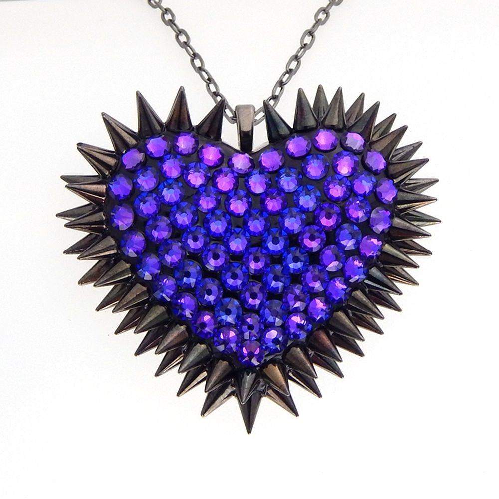 Classic Spiked & Paved Heart Necklace | Heliotrope