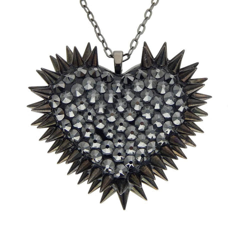 Classic Spiked & Paved Heart Necklace in Hematite