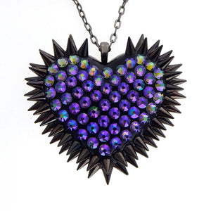 Classic Spiked & Paved Heart Necklace | Paradise