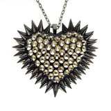 Classic Spiked & Paved Heart Necklace in Pyrite