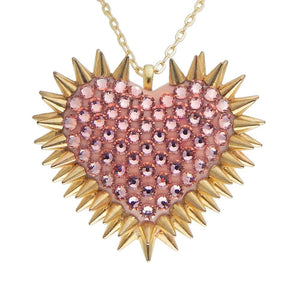 Classic Spiked & Paved Heart Necklace | Vintage Rose