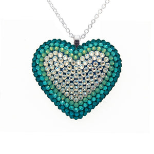 Classic Pavéd Heart Necklace | Beach Glass | 𝗔𝗥𝗖𝗛𝗜𝗩𝗘