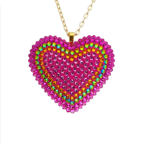 Classic Pavèd Heart Necklace in Electric Koolade