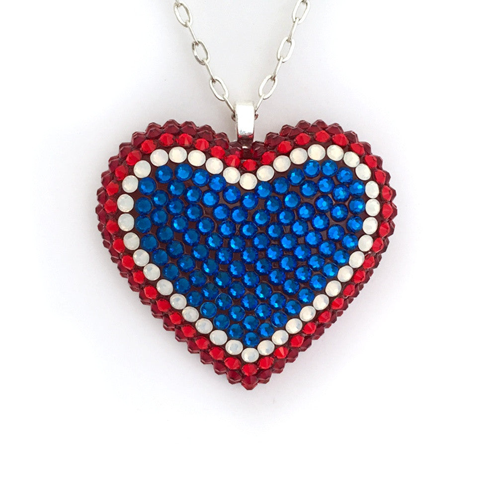 Pavèd Heart Necklace in Rocket Pop