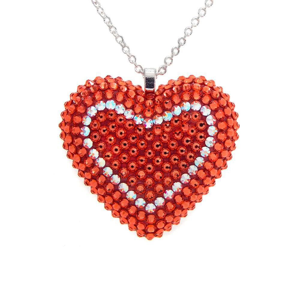 Classic Pavéd Heart Necklace in Dreamsicle