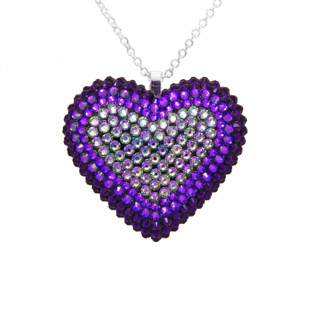 Classic Pavéd Heart Necklace in Ultraviolet