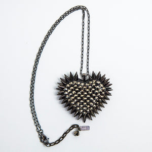 Classic Spiked & Paved Heart Necklace | Pyrite