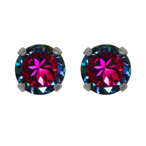 Crystal Stud Earrings in Color-shifting Volcano.