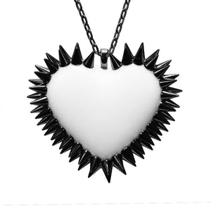 Double Row Spiked Heart Necklace