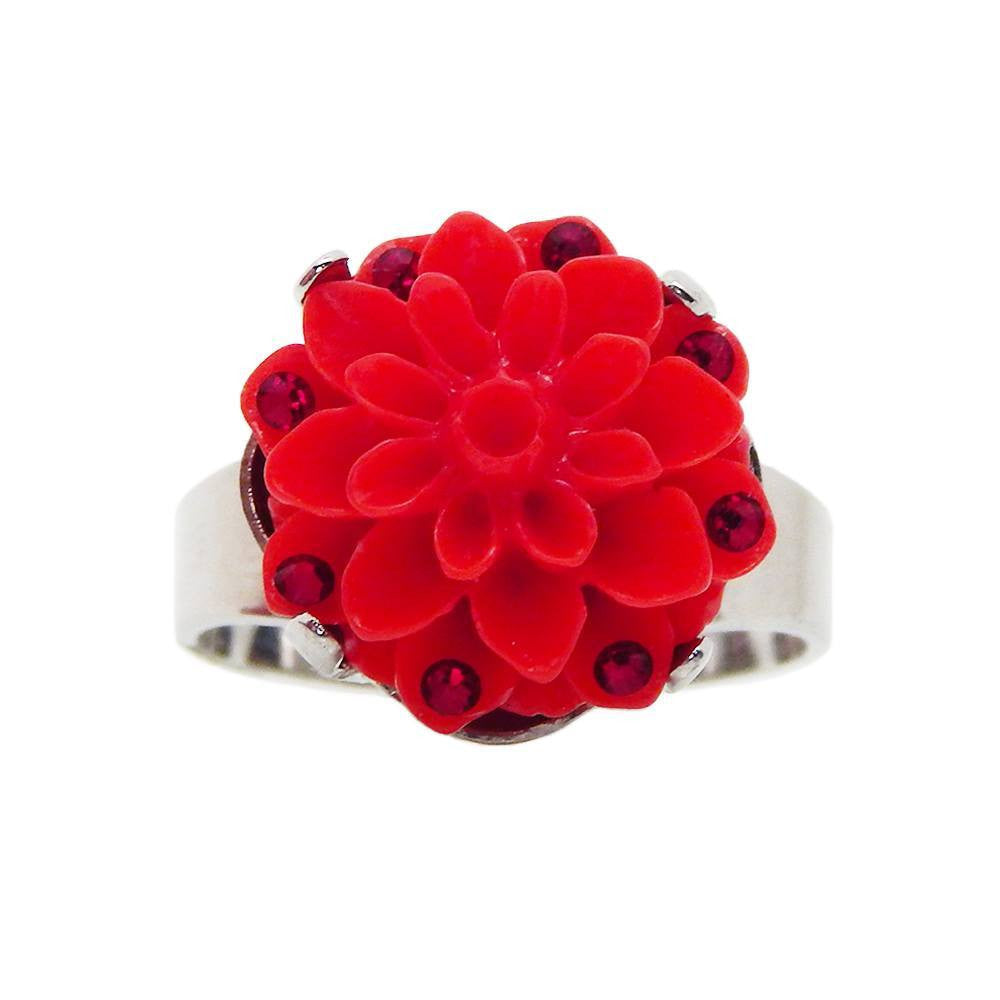 Scarlet flower-power ring with Swarovski Crystals by Bunny Paige.