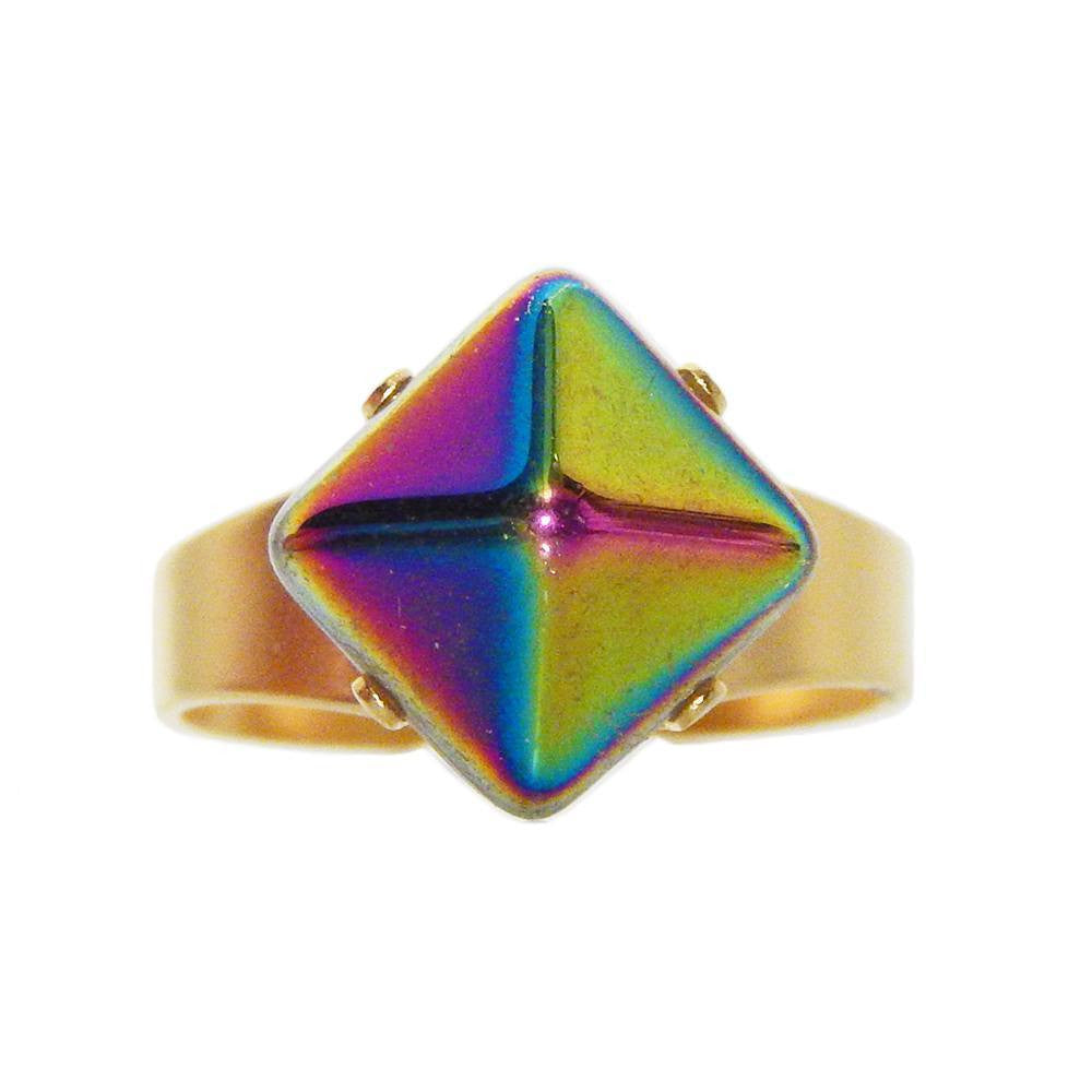 Bunny-Paige Fire-pressed glass-pyramid-stud ring.
