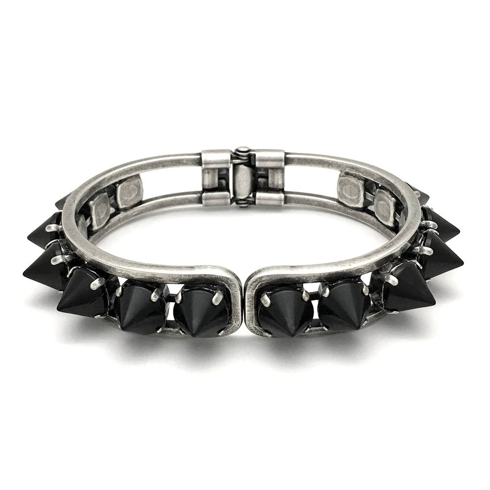 Hinged Cuff Bracelet | Antique Silver & Black