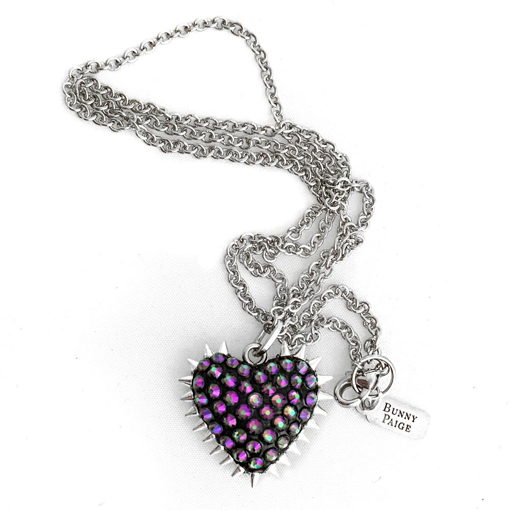 7bb7f5146037 Micro Spiked & Pavéd Heart Necklace - Bunny Paige