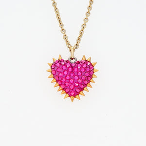 Micro Spiked & Pavéd Heart Necklace