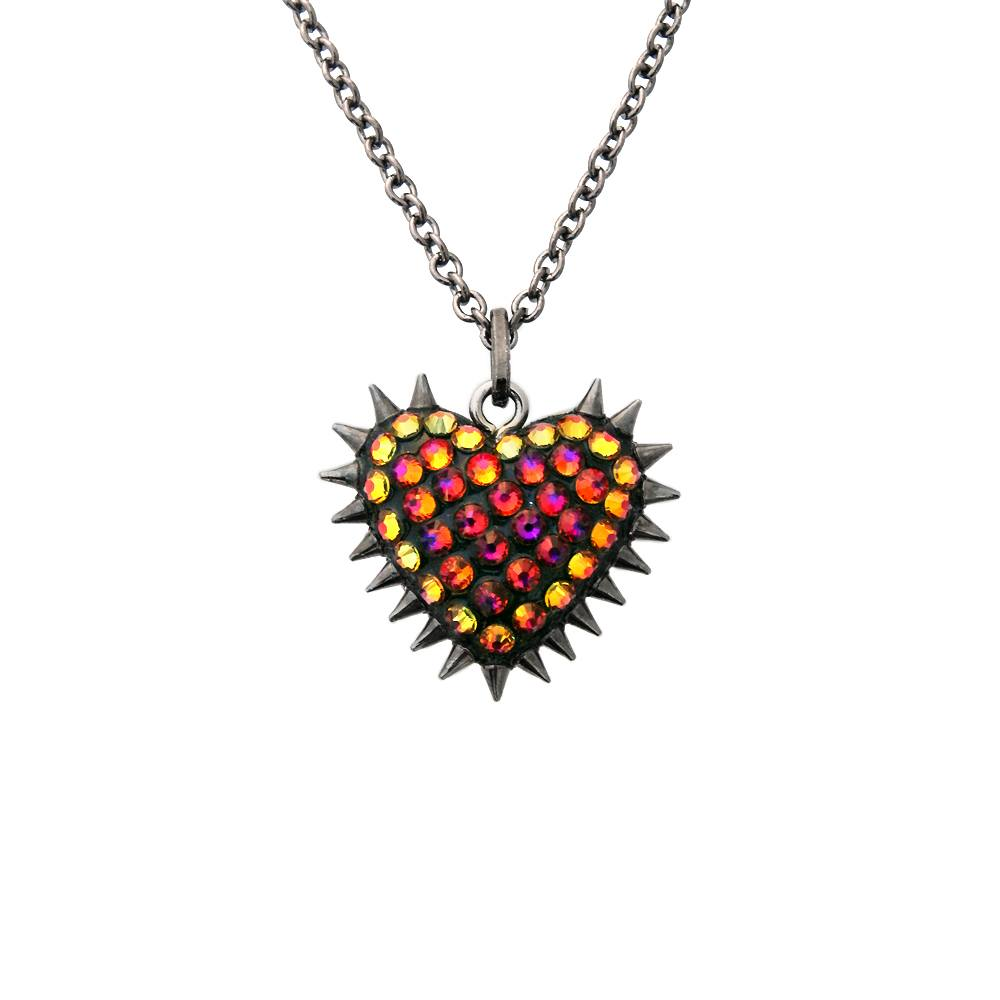 Micro Spiked & Pavèd Heart Necklace