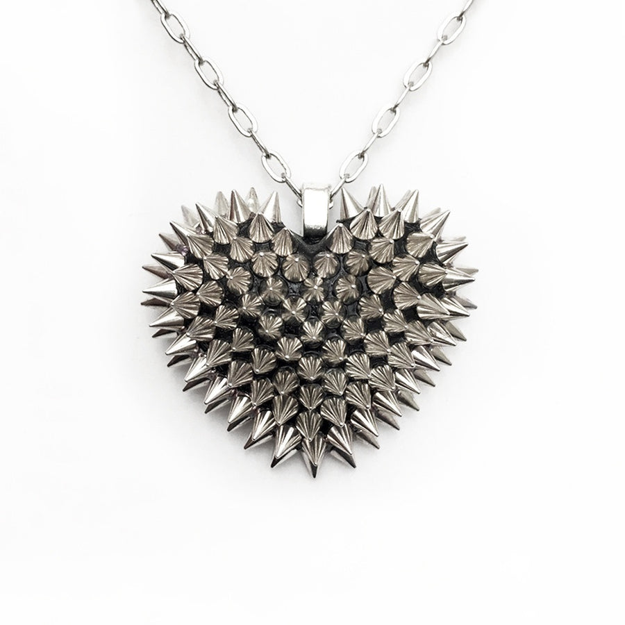 Mini Spiked Heart Necklace