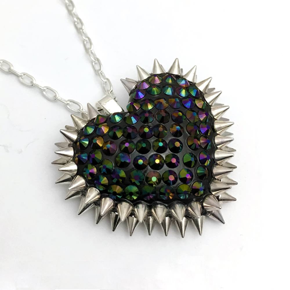 Mini Spiked & Paved Heart Necklace in Dark Rainbow