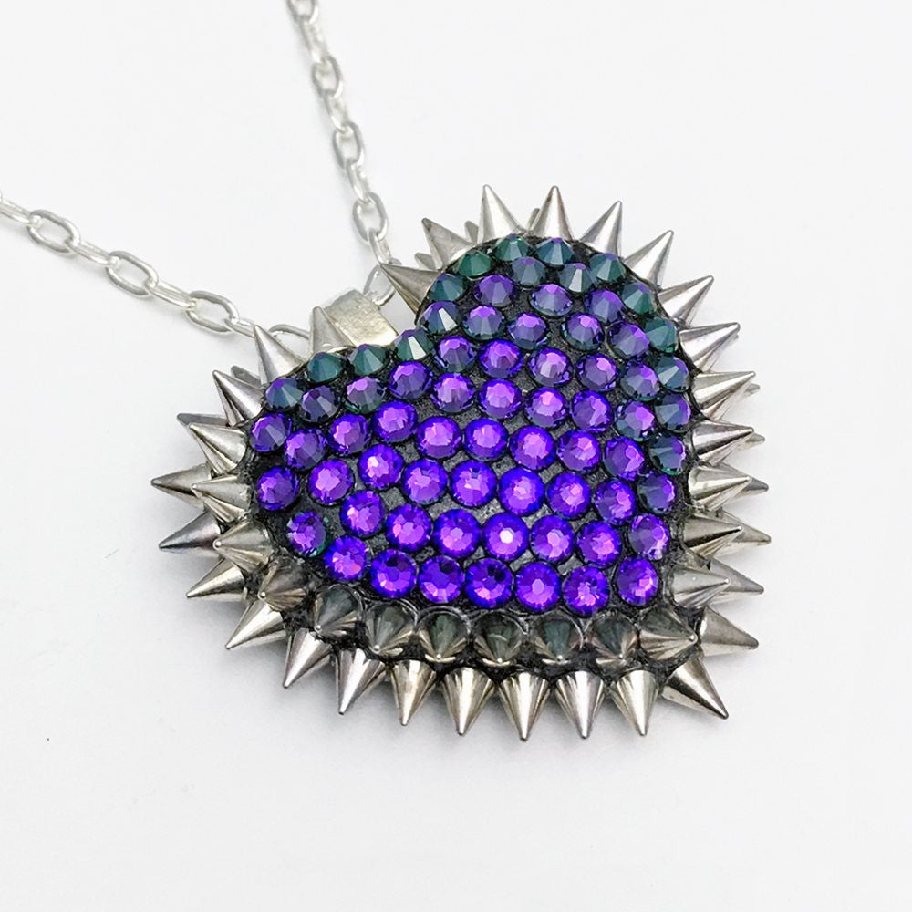 Mini Spiked & Paved Heart Necklace in Heliotrope