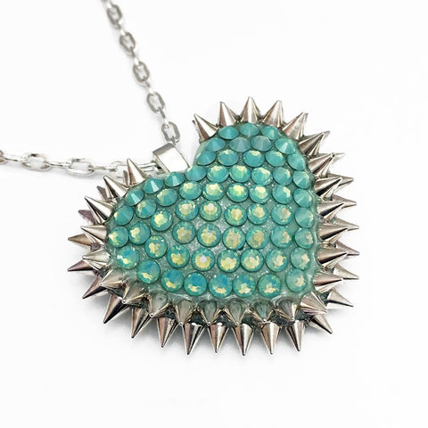 Mini Spiked & Paved Heart Necklace in Pacific Opal