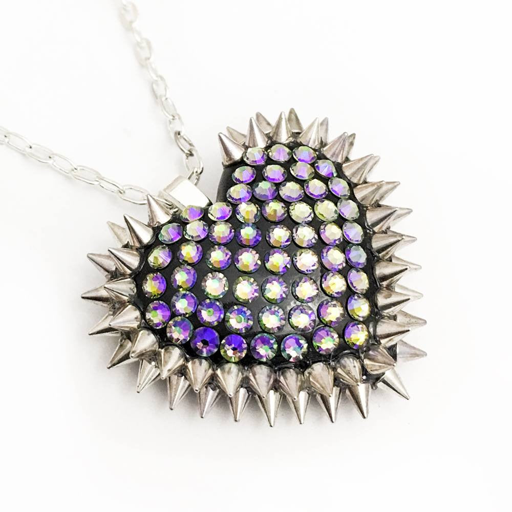 Mini Spiked & Paved Heart Necklace in Paradise