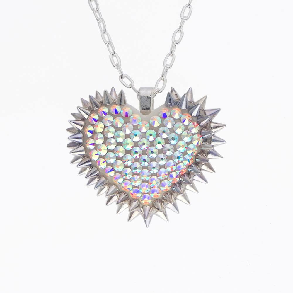 Mini Spiked & Paved Heart Necklace in Aurora