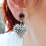 Micro Spiked Heart Earrings