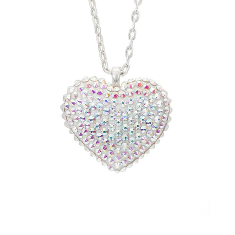 Mini Pavèd Heart Necklace in Aurora