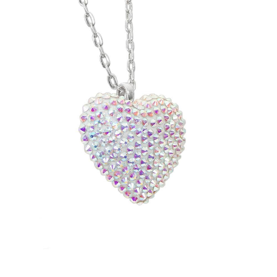 Mini Pavéd Heart Necklace in Aurora