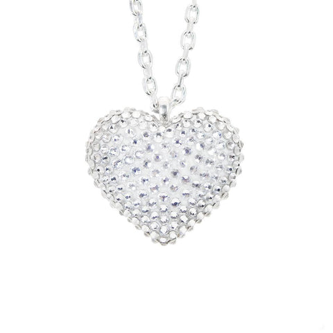 Mini Pavèd Heart Necklace in Crystal