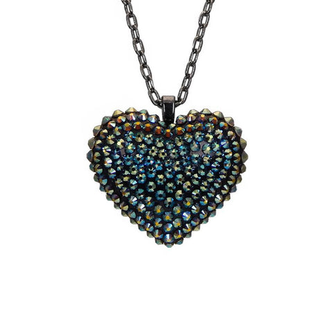 Mini Pavèd Heart Necklace in Iridescent Green