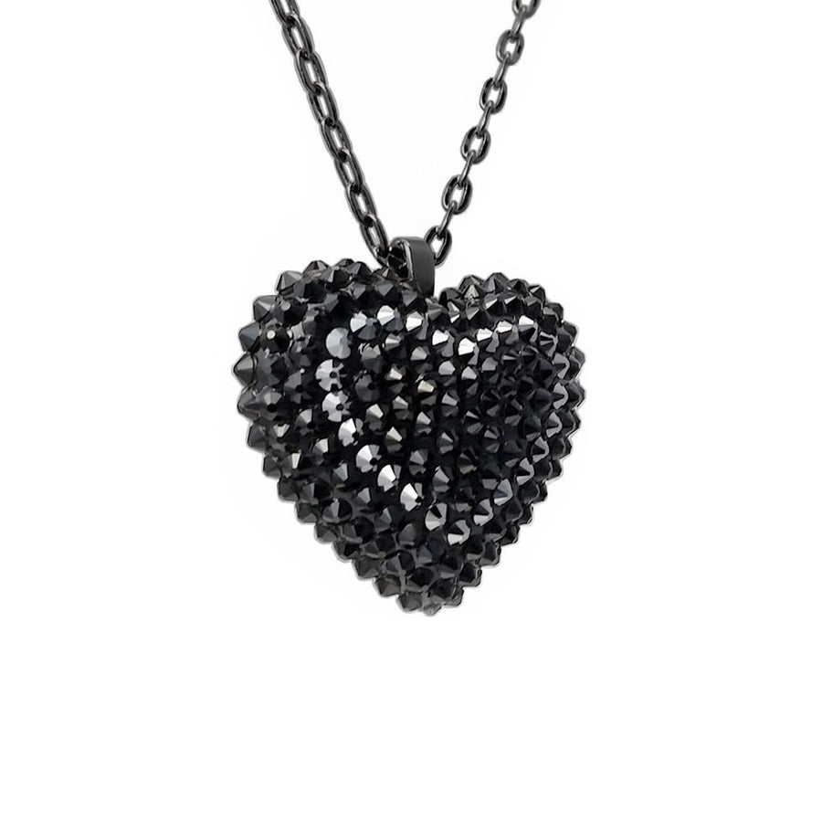 Mini Pavéd Heart Necklace in Midnight