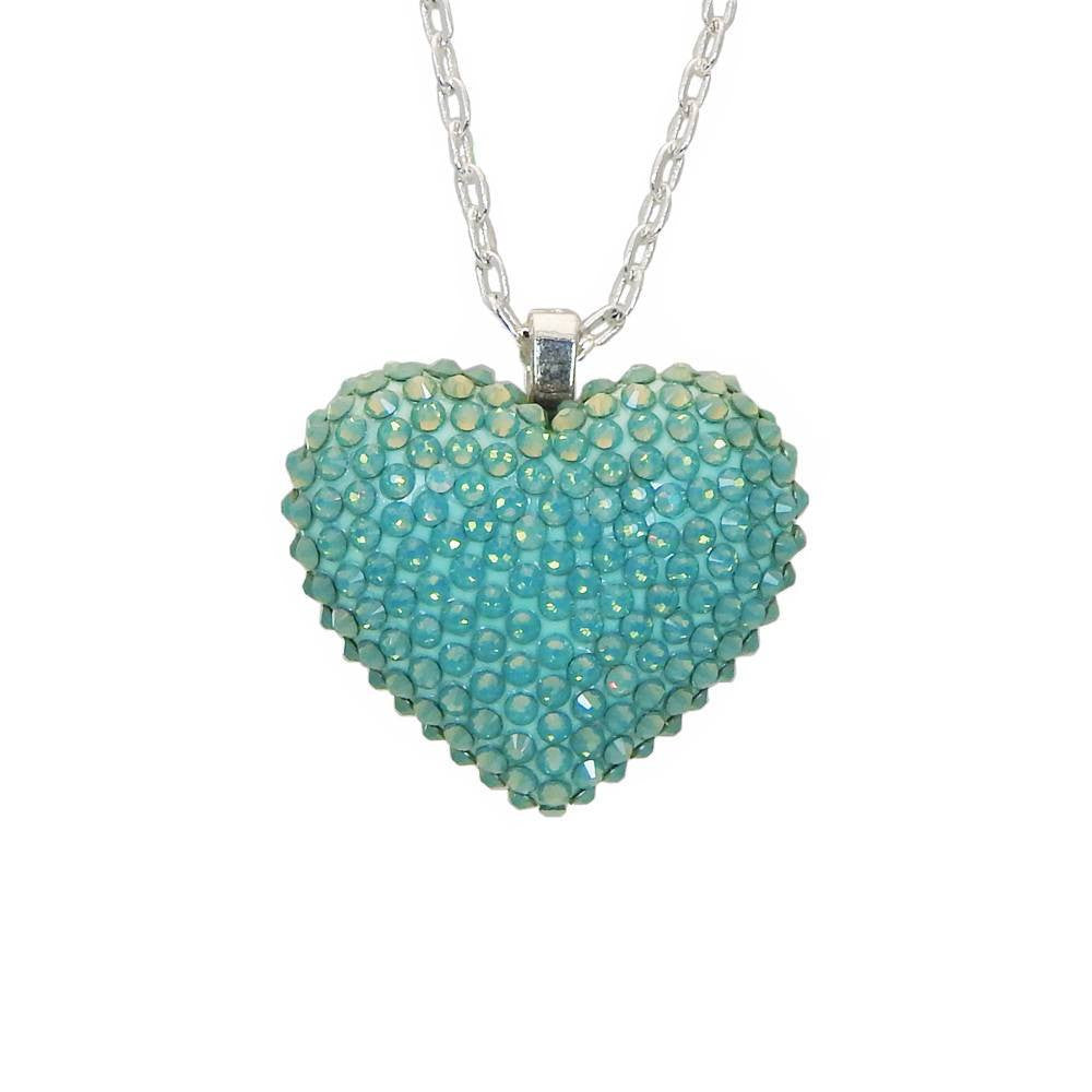 Mini Pavéd Heart Necklace in Pacific Opal