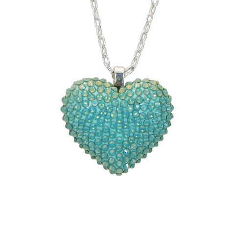 Mini Pavèd Heart Necklace in Pacific Opal