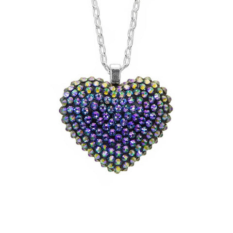 Mini Pavèd Heart Necklace in Paradise