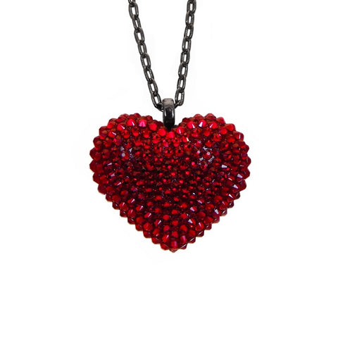 Mini Pavèd Heart Necklace in Dark Red