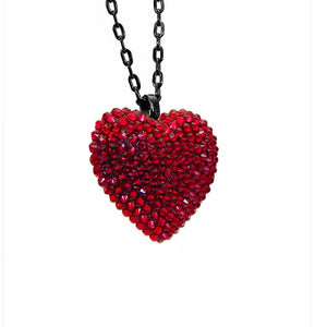 Mini Pavéd Heart Necklace in Dark Red