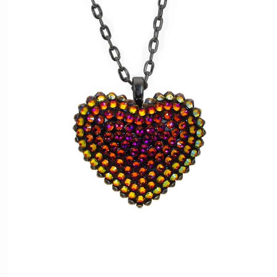 Mini Pavéd Heart Necklace in Volcano