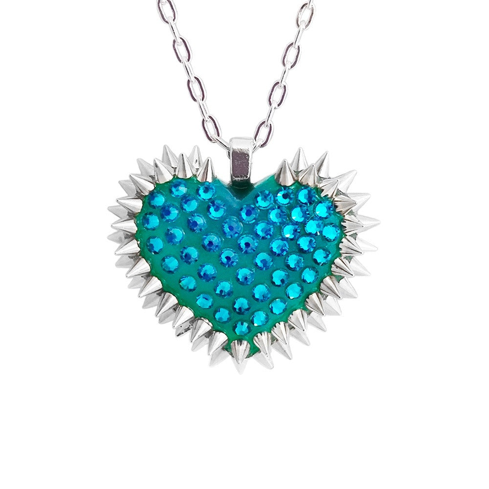 Mini Spiked & Paved Heart Necklace in Blue Zircon