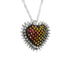 Mini Spiked & Paved Heart Necklace in Volcano