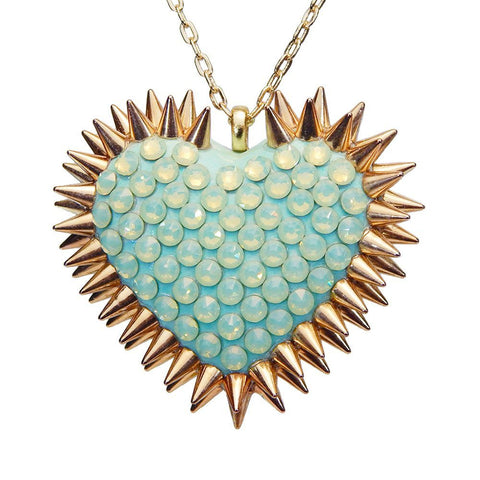 Classic Spiked & Paved Heart Necklace in Spearmint