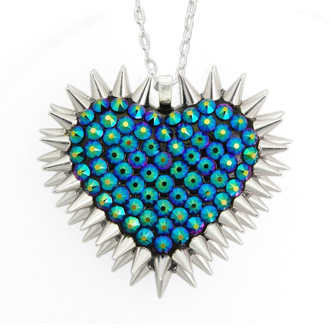 Classic Spiked & Pavèd Heart Necklace