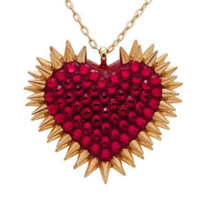 Classic Spiked & Paved Heart Necklace | Siam