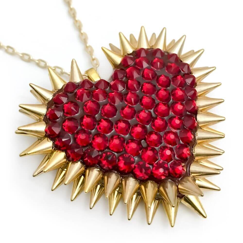 Ruby red crystal pave spiked heart choker. Gold spikes heart necklaces