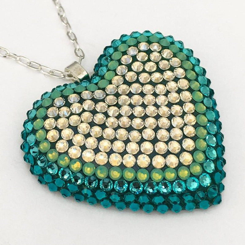 Classic Pavéd Heart Necklace in Beach Glass