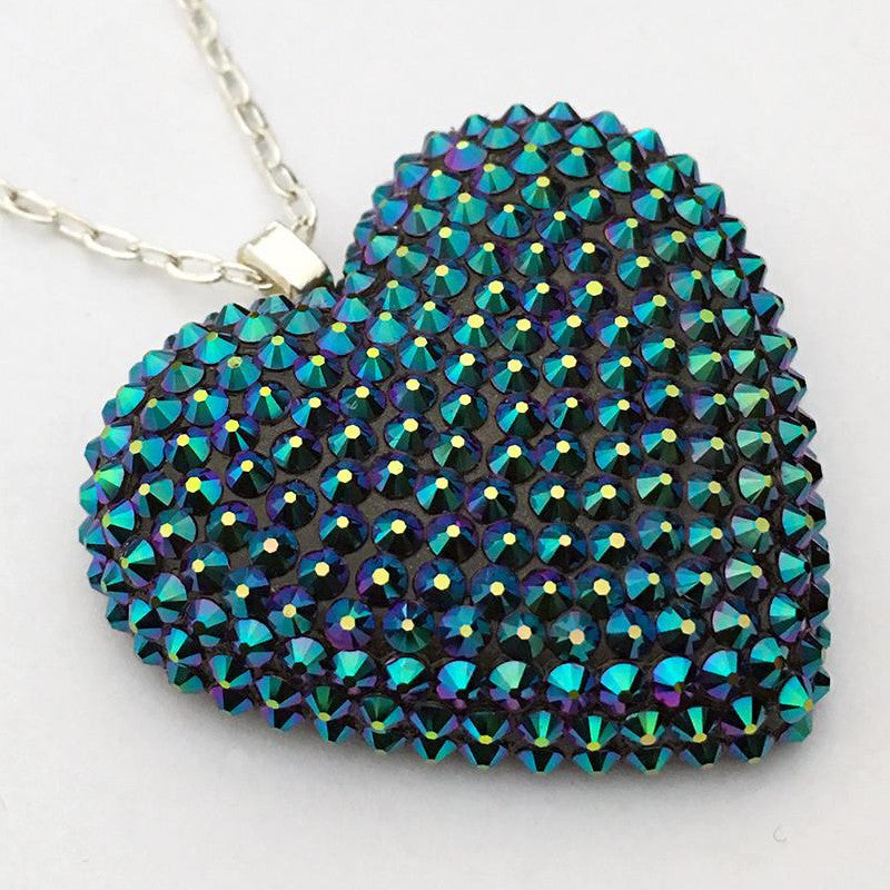 Classic Pavéd Heart Necklace in Dragonfly