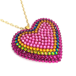 Classic Pavéd Heart Necklace in Electric Koolade
