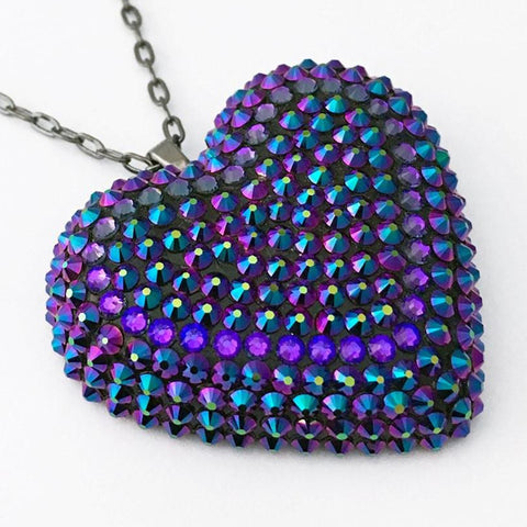 Classic Pavèd Heart Necklace in Intergalactic