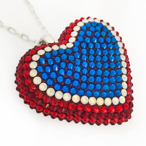 Classic Pavèd Heart Necklace in Rocket Pop