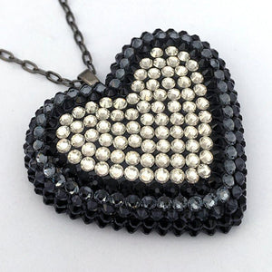 Classic Pavéd Heart Necklace in Tuxedo