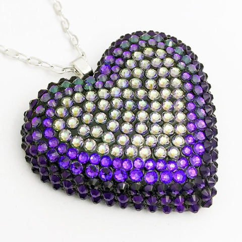 Classic Pavèd Heart Necklace in Ultraviolet